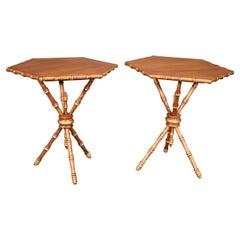 Unique Pair of Faux Bamboo Walnut Octagonal French End or Occassional Tables