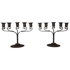 Unique Pair of Hand Forged Wrought Iron Arts & Crafts Table Candelabras, 1910s