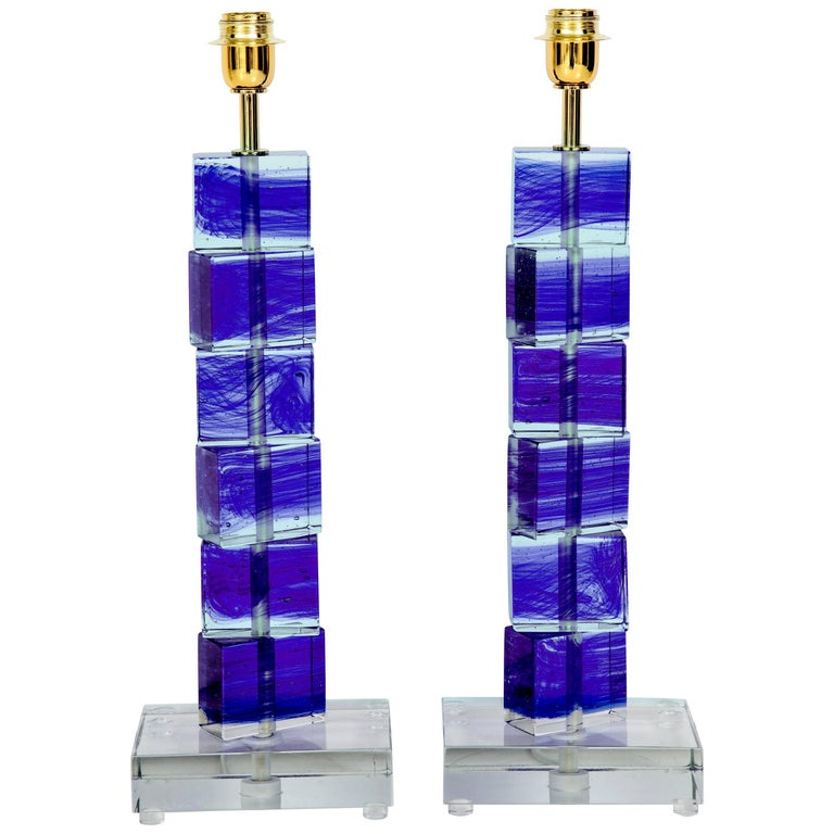 Unique Pair of Italian Cobalt Blue and Clear Murano Glass Block Lamps, Signed