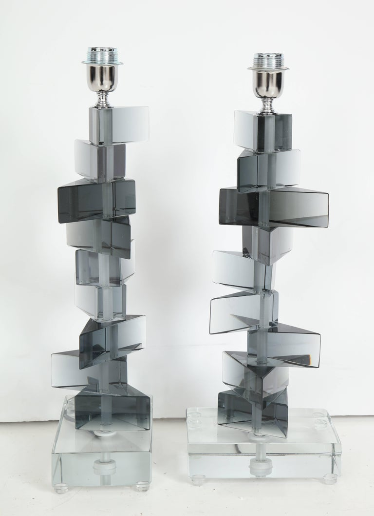 Unique Pair of Italian Murano Glass Lamps in Smoked Gray For Sale 5