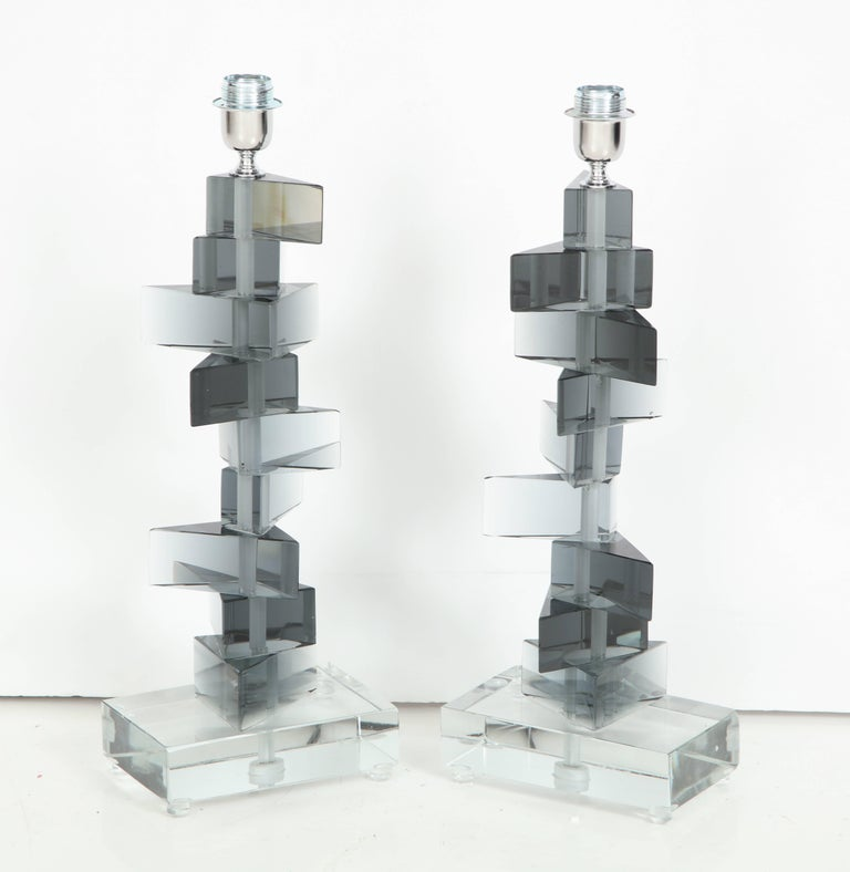 Contemporary Unique Pair of Italian Murano Glass Lamps in Smoked Gray For Sale