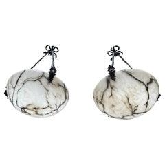 Unique Pair of Large Size Antique White Alabaster Chandeliers / Pendant Lights