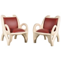 Unique Pair of Lounge Chairs, 1970