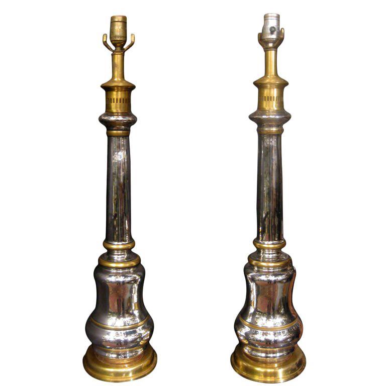 Unique Pair Of mercury Glass Lamps For Sale