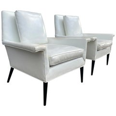 Unique Pair of Midcentury Modern Paul McCobb Planner Group Vinyl Lounge Chairs