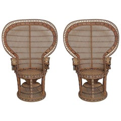Unique Pair of Peacock Vintage Rattan Chairs