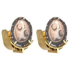 Unique Round Agate Stone and Brass Sconces