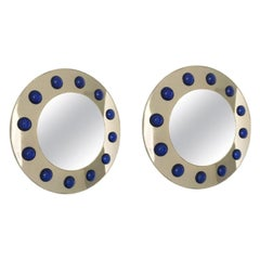 Unique Pair of Round Mirrors Polished Brass, Dark Blue Murano Glass, Italy,1980s
