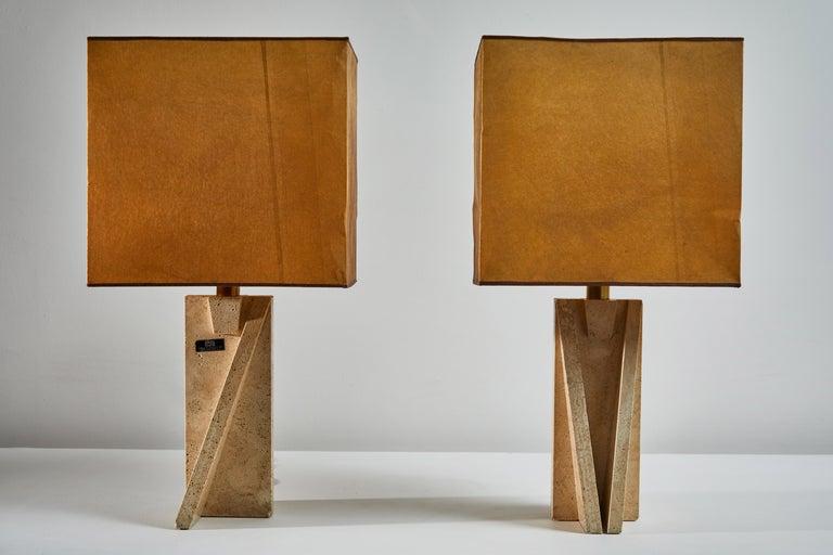 Italian Unique Pair of Table Lamps by Cerri Nestore For Sale