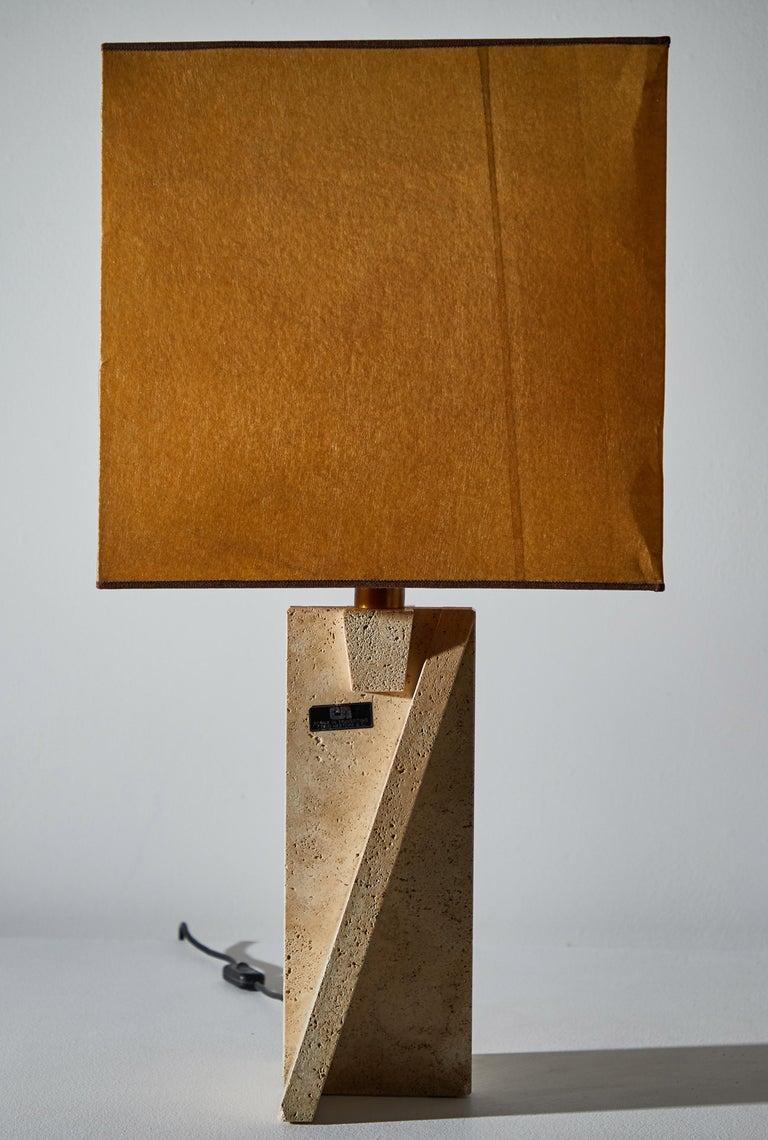 Travertine Unique Pair of Table Lamps by Cerri Nestore For Sale