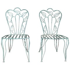 Unique Pair of Very Stylish Mottled Green Powder Coated Patio Chairs