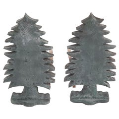 Unique Pair of Vintage Evergreen Tree Form Puddle Cast Iron Andirons