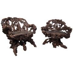 Unique Pair of Vintage Vine Chairs