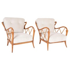 Unique Pair of Walnut Armchairs in the Manner of Paolo Buffa