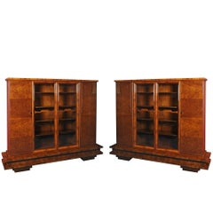 Unique Pair of Walnut Art Deco Bookcases, 1920-1929