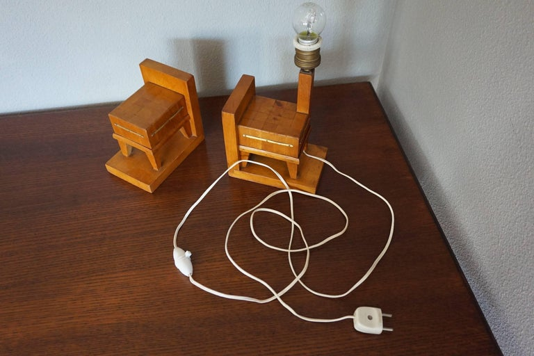 Pair of Wooden Art Deco Butcher Block Bookends with Integrated Table Light For Sale 3