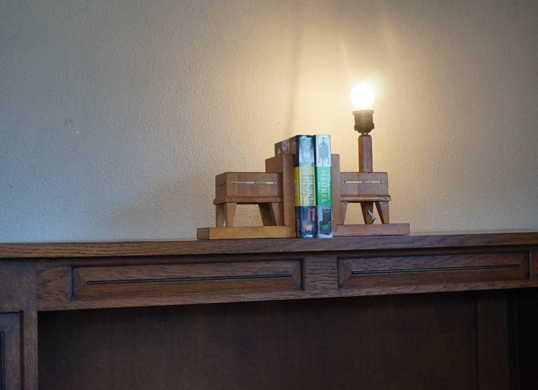 Pair of Wooden Art Deco Butcher Block Bookends with Integrated Table Light For Sale 5