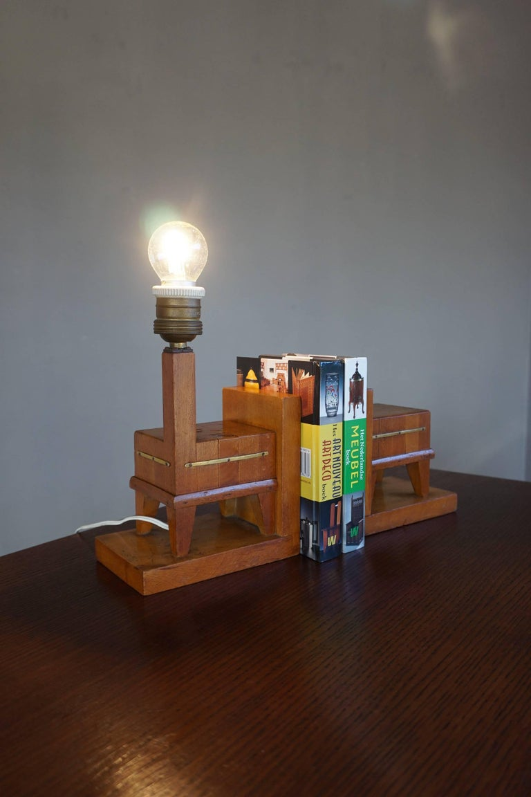 Pair of Wooden Art Deco Butcher Block Bookends with Integrated Table Light For Sale 6