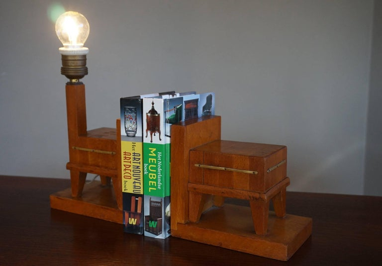 Coolest ever pair of bookends for butchers.  These Art Deco bookends from the 1920s can almost only have been made for, or commissioned by a butcher(s family). With the individual wooden parts glued together in a vertical position these coolest of