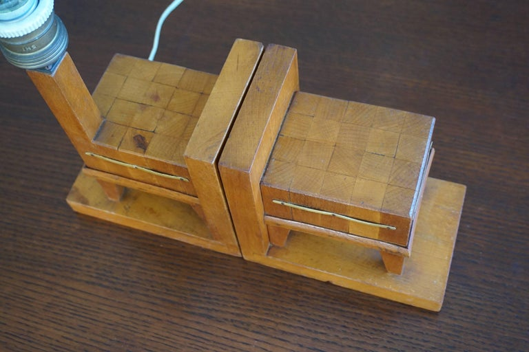 European Pair of Wooden Art Deco Butcher Block Bookends with Integrated Table Light For Sale