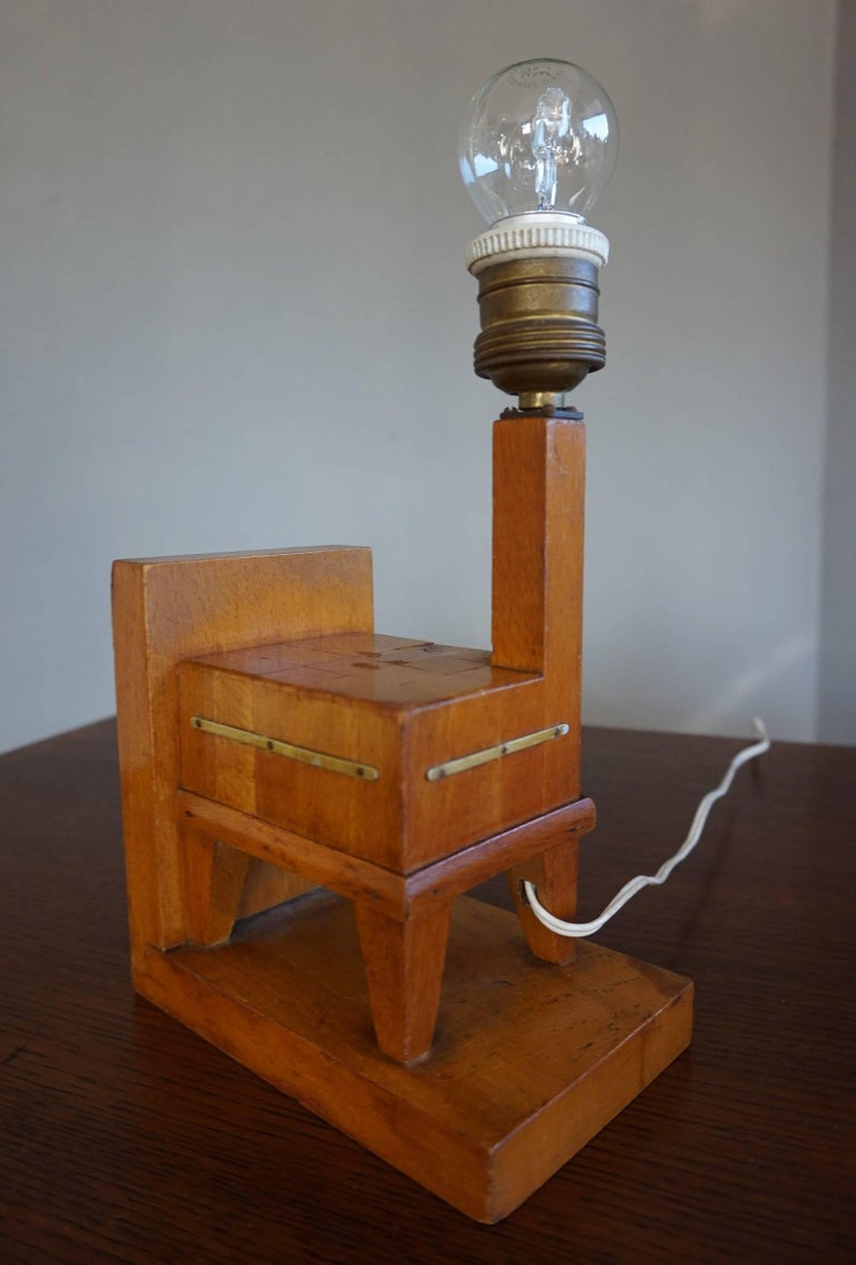Hand-Crafted Pair of Wooden Art Deco Butcher Block Bookends with Integrated Table Light For Sale
