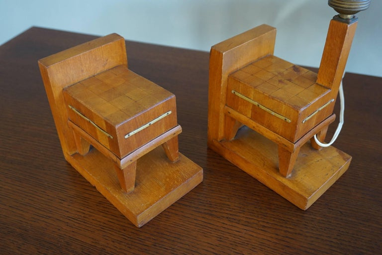 Metal Pair of Wooden Art Deco Butcher Block Bookends with Integrated Table Light For Sale
