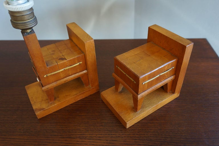 Pair of Wooden Art Deco Butcher Block Bookends with Integrated Table Light For Sale 1