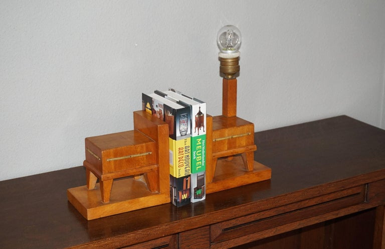 Pair of Wooden Art Deco Butcher Block Bookends with Integrated Table Light For Sale 2