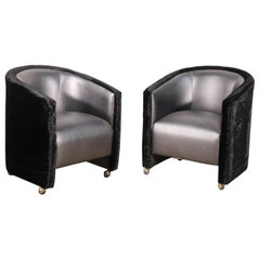Unique Pair Upholstered Art Deco Style Modern Club Chairs