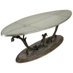 Unique Patinated Cast Iron Oval Centre Table
