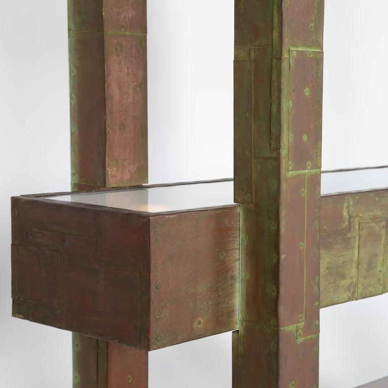 Unique Paul Evans Copper Patchwork Shelving Unit, circa 1968 For Sale 3
