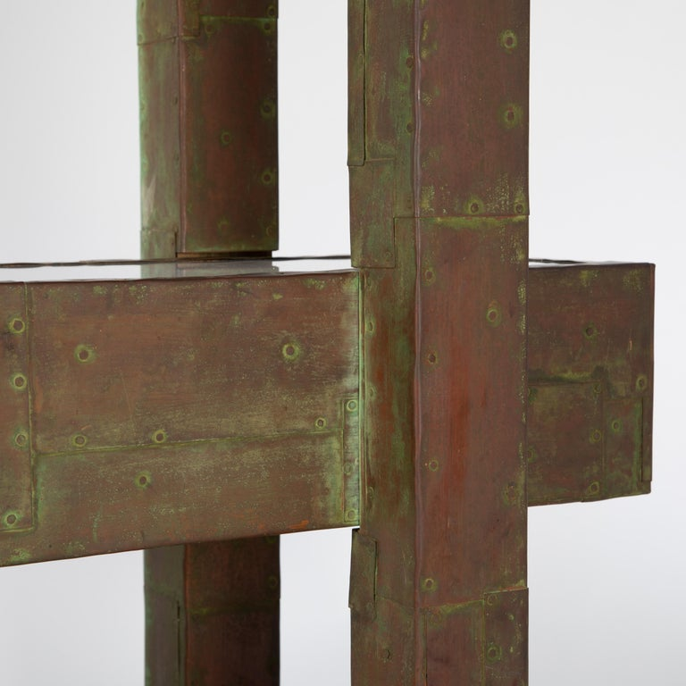 Unique Paul Evans Copper Patchwork Shelving Unit, circa 1968 For Sale 9