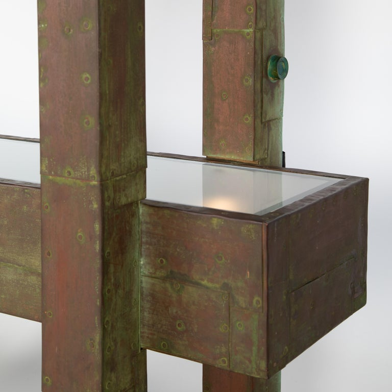 Unique Paul Evans Copper Patchwork Shelving Unit, circa 1968 In Good Condition For Sale In Brooklyn, NY