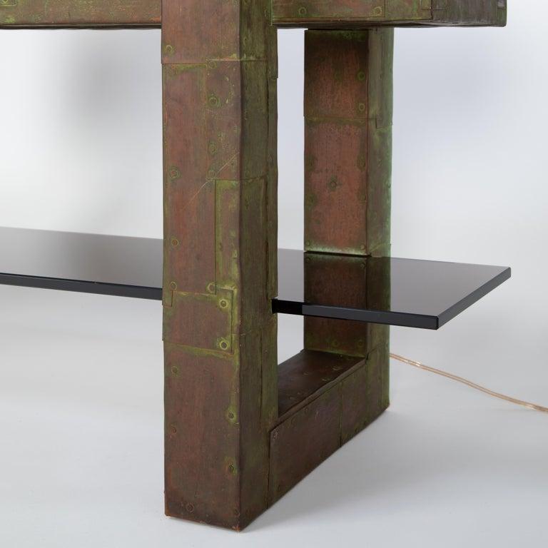 Mid-20th Century Unique Paul Evans Copper Patchwork Shelving Unit, circa 1968 For Sale