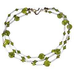 Unique Peridot and Crystal Three-Strand Necklace