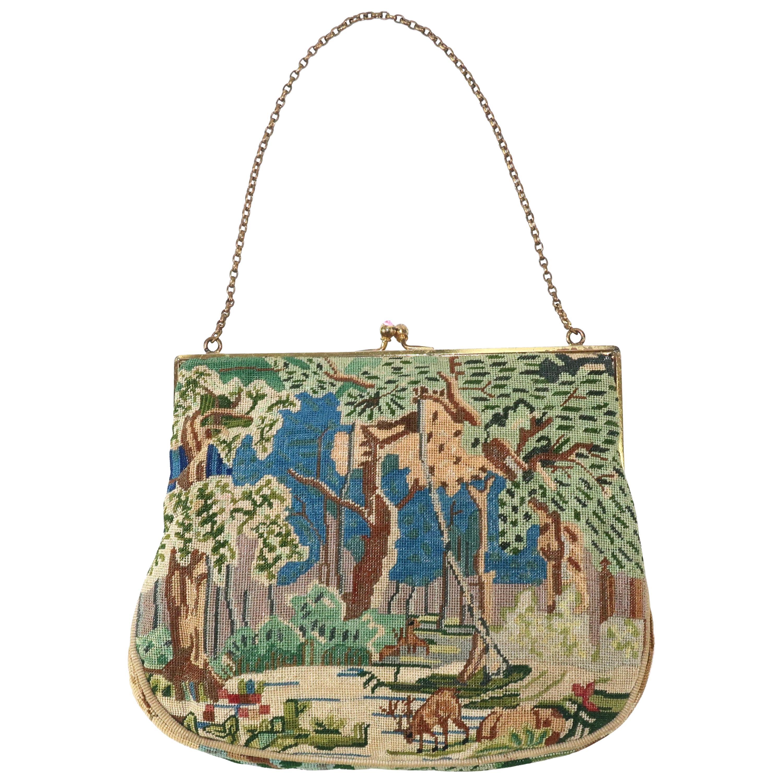 Unique Petit Point Forest Scene Handbag