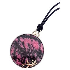 Unique Piece Gold Silver Pink and Black Gecko Pendent Silk Necklace
