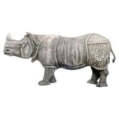 Unique Piece Huge Garden Sculpture Indian Rhinoceros