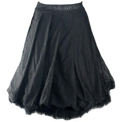 Unique Piece - Rare Chanel Mesh & Tulle Evening Skirt with Feather Lining