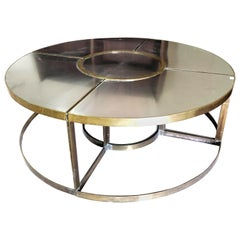 Round Monumental Midcentury Bronze Dining Table in 5 Element by Francois Catroux