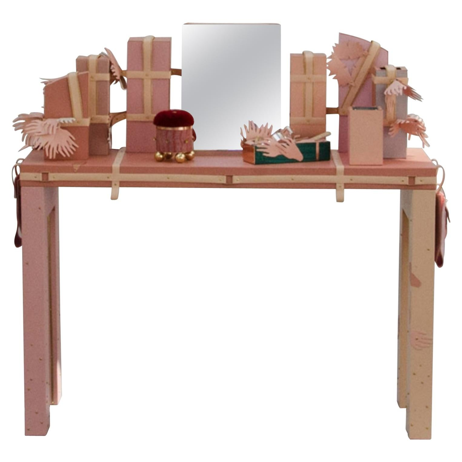 Unique Pink Leather Vanity and Mirror, France, 2019
