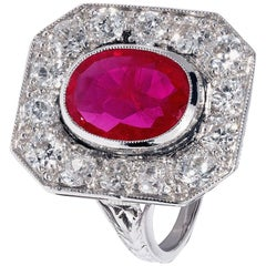 Red Ruby Ring with White Diamond Surround