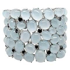 Unique Platinum Bracelet with 266.6 Carats Aquamarine, Sapphires and Diamonds