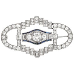 Unique Platinum with Sapphire and Diamonds Brooch