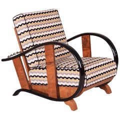 Unique Positioning Art Deco Armchair from Czechoslovakia by Jindrich Halabala