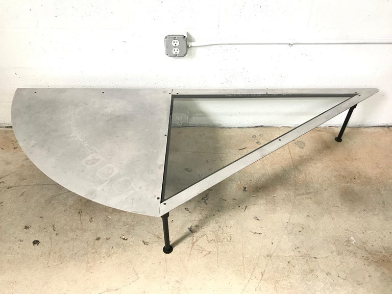 Artist made one of a kind cut steel and glass sculptural coffee or cocktail table.
