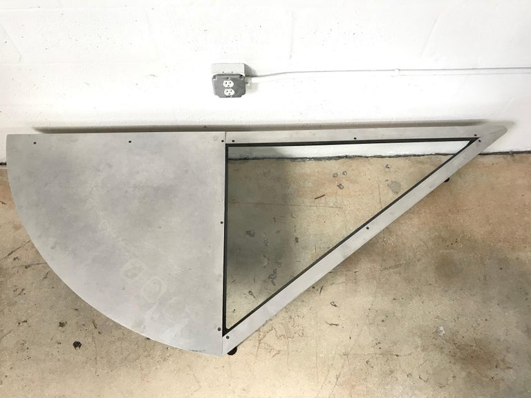 American Unique Postmodern Steel and Glass Coffee or Cocktail Table For Sale