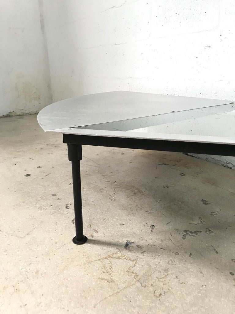 20th Century Unique Postmodern Steel and Glass Coffee or Cocktail Table For Sale