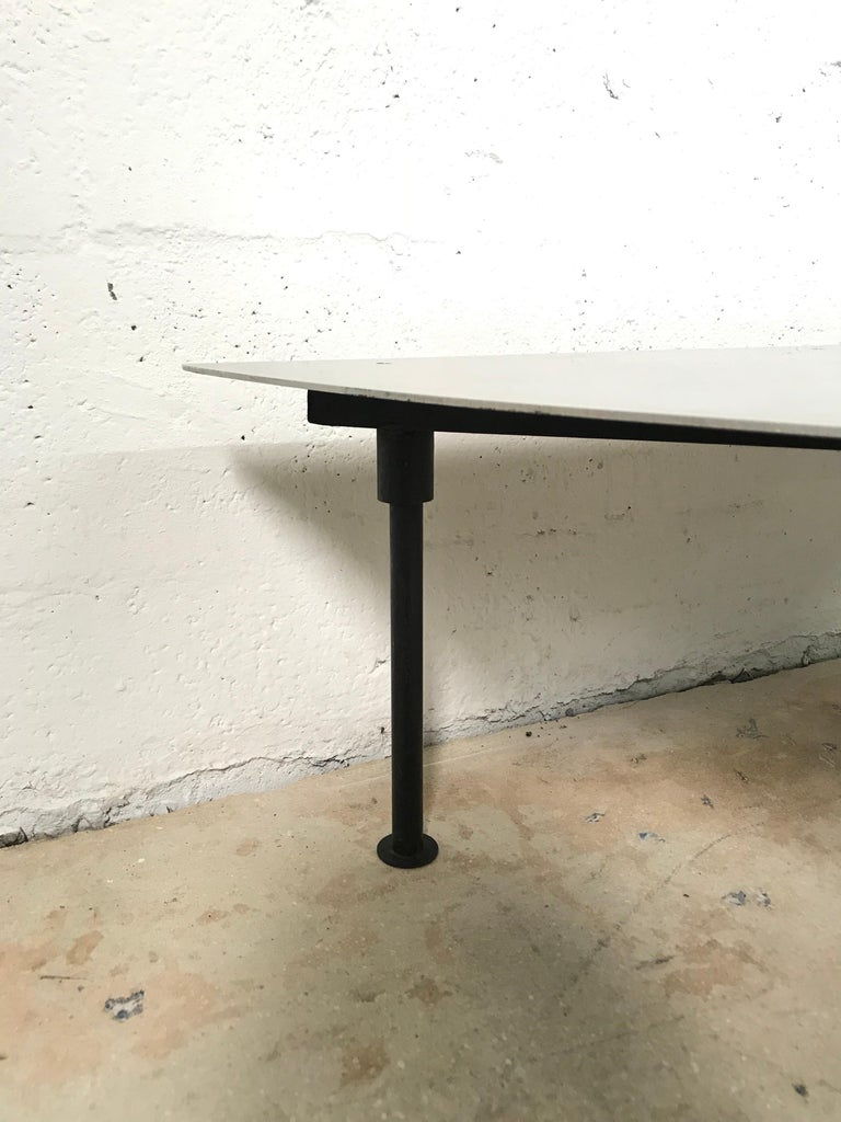 Unique Postmodern Steel and Glass Coffee or Cocktail Table For Sale 1