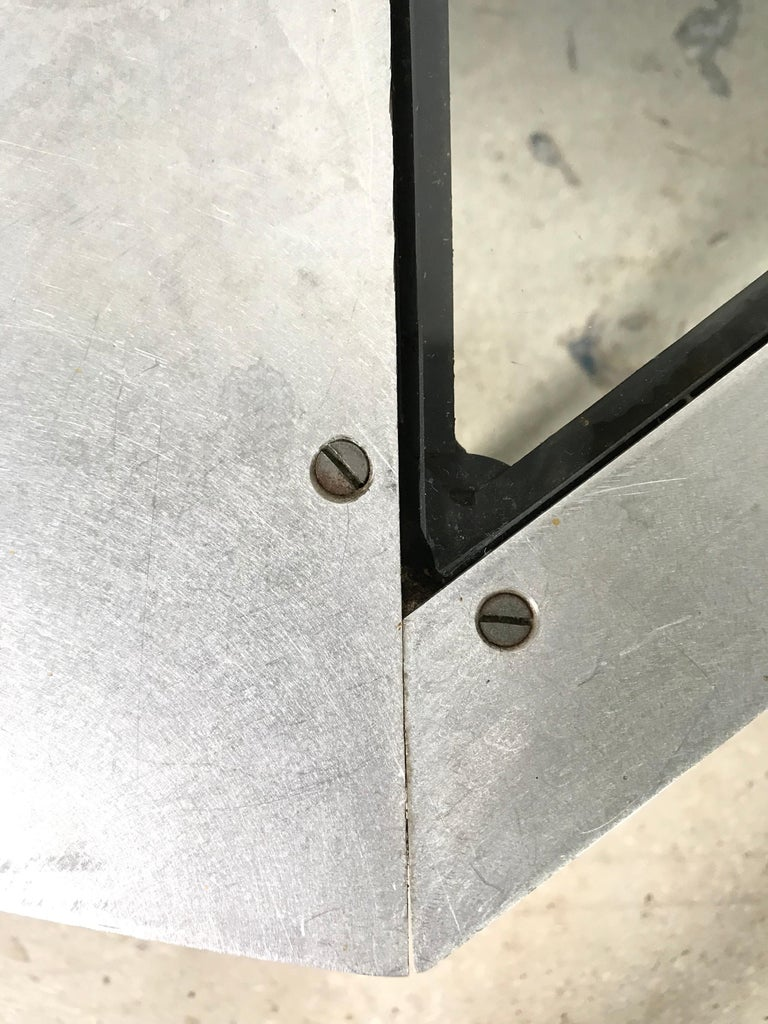 Unique Postmodern Steel and Glass Coffee or Cocktail Table For Sale 3